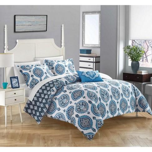 Chic Home Cedar 4 Piece Duvet Cover Set Cotton Zipper Closure Pillow Shams Blue Target