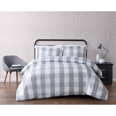 Truly Soft Full/Queen Buffalo Plaid Duvet Cover Set Gray/White