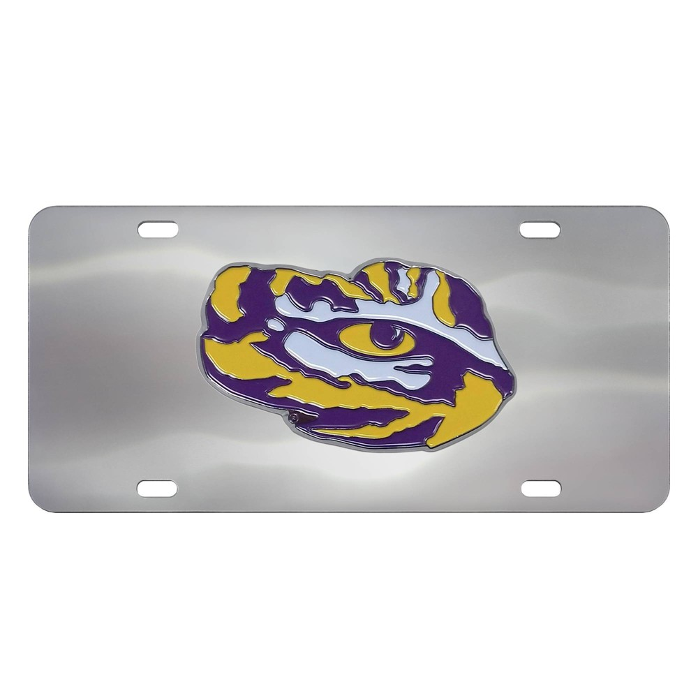 Ncaa Lsu Tigers Stainless Steel Metal License Plate