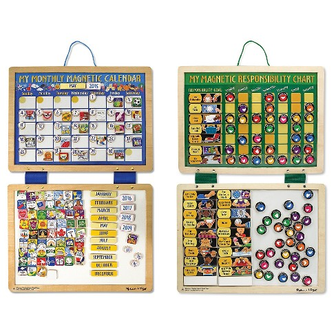 Melissa & Doug® Kids' Magnetic Calendar and Responsibility Chart Set With 120+ Magnets to Track Schedules, Tasks, and Behaviors - image 1 of 2