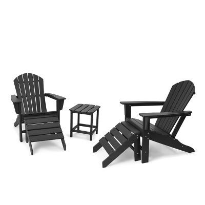 5pk Plastic Resin Adirondack Chair with Side Table & Ottoman - Black - EDYO LIVING