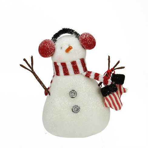 "Northlight 6.75"" Decorative Red and White Glittered Snowman Christmas Table Top Plush Figure - image 1 of 1"