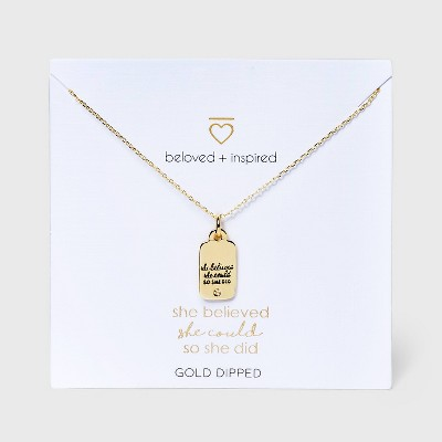 Beloved + Inspired Gold 'She Believed She Could So She Did' Tag Chain Necklace - Gold