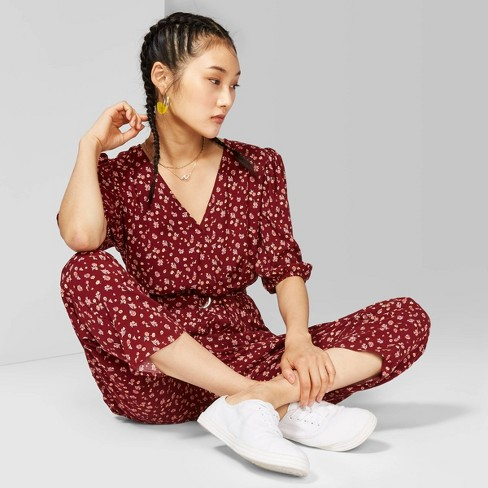 Women's Floral Print 3/4 Sleeve V-Neck Belted Jumpsuit - Wild Fable™ Berry Maroon - image 1 of 3