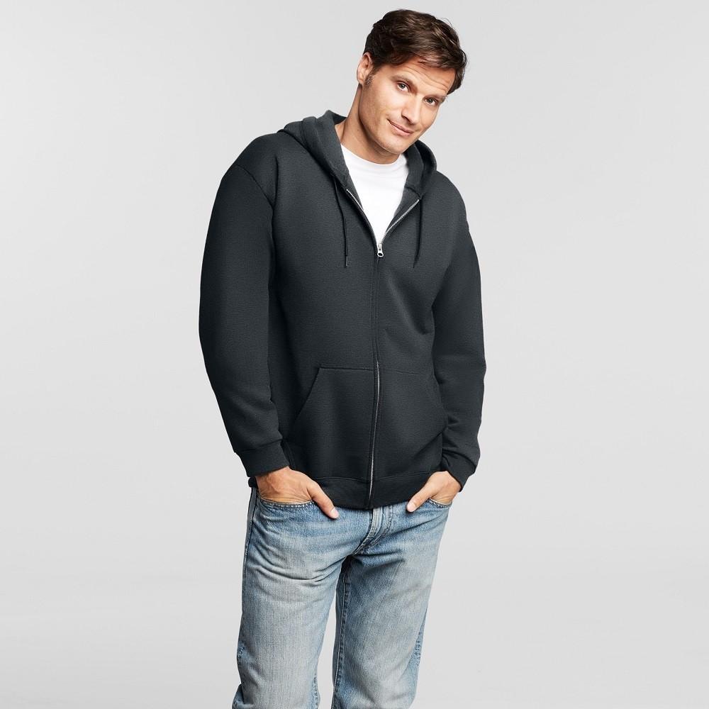 Men's Hanes Premium Fleece Full Zip Hood With Fresh IQ - Black XL