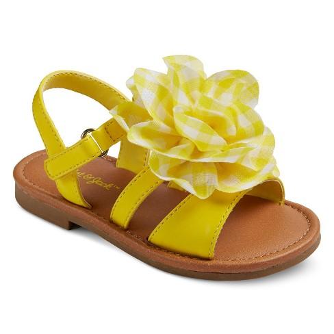 Toddler Girls' Jacky Large Chiffon Flower Slide Sandals Cat & Jack™ - Yellow 9 - image 1 of 3