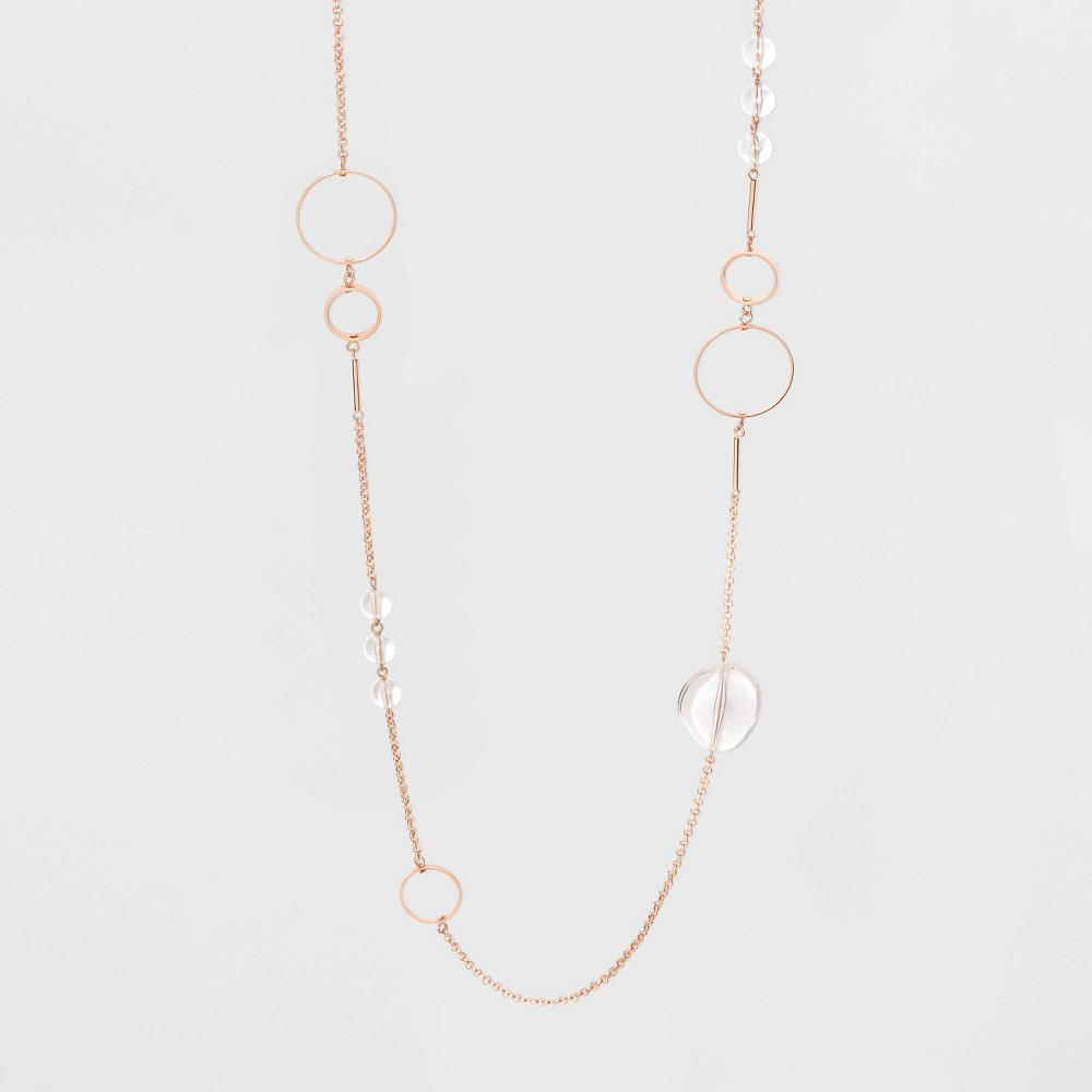 Image of Acrylic Beads and Circles Long Necklace - A New Day Rose Gold, Size: Large