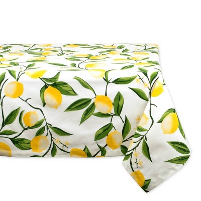 84 X60  Lemon Bliss Print Tablecloth Yellow - Design Imports