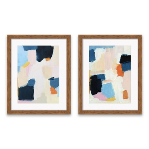 Set Of 2 1625x2025 Blue And Pink Abstract Framed Print