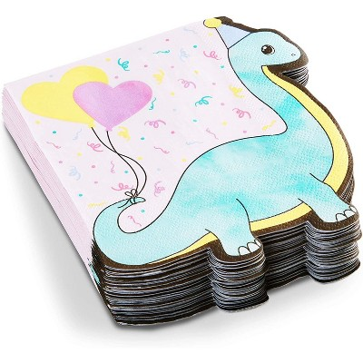 Blue Panda 50 Pack Dinosaur Birthday Party Disposable Paper Napkins, Pastel Colors 6.25 x 6.15 In