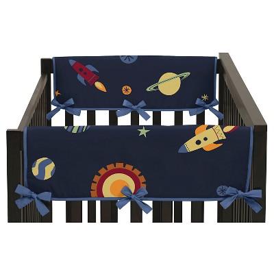 Sweet Jojo Designs Space Galaxy Side Crib Rail Guard Covers (Set of 2)- Navy