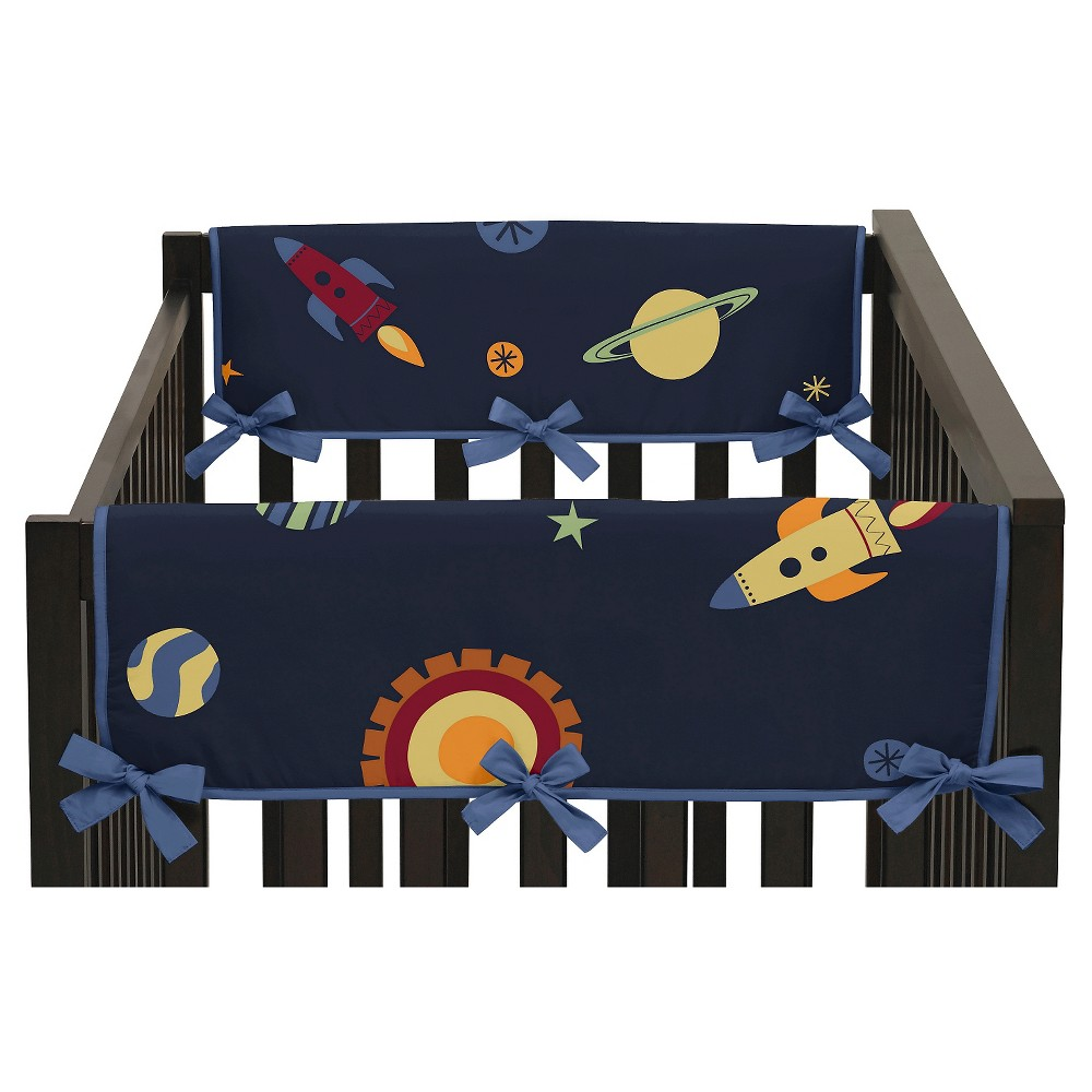 Sweet Jojo Designs Space Galaxy Side Crib Rail Guard Covers (Set of 2) - Navy