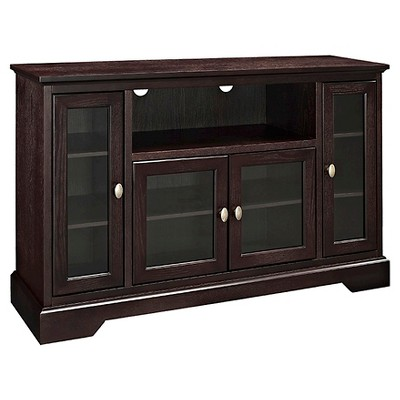 """Glass Door Traditional Highboy TV Stand for TVs up to 58"""" - Saracina Home"""