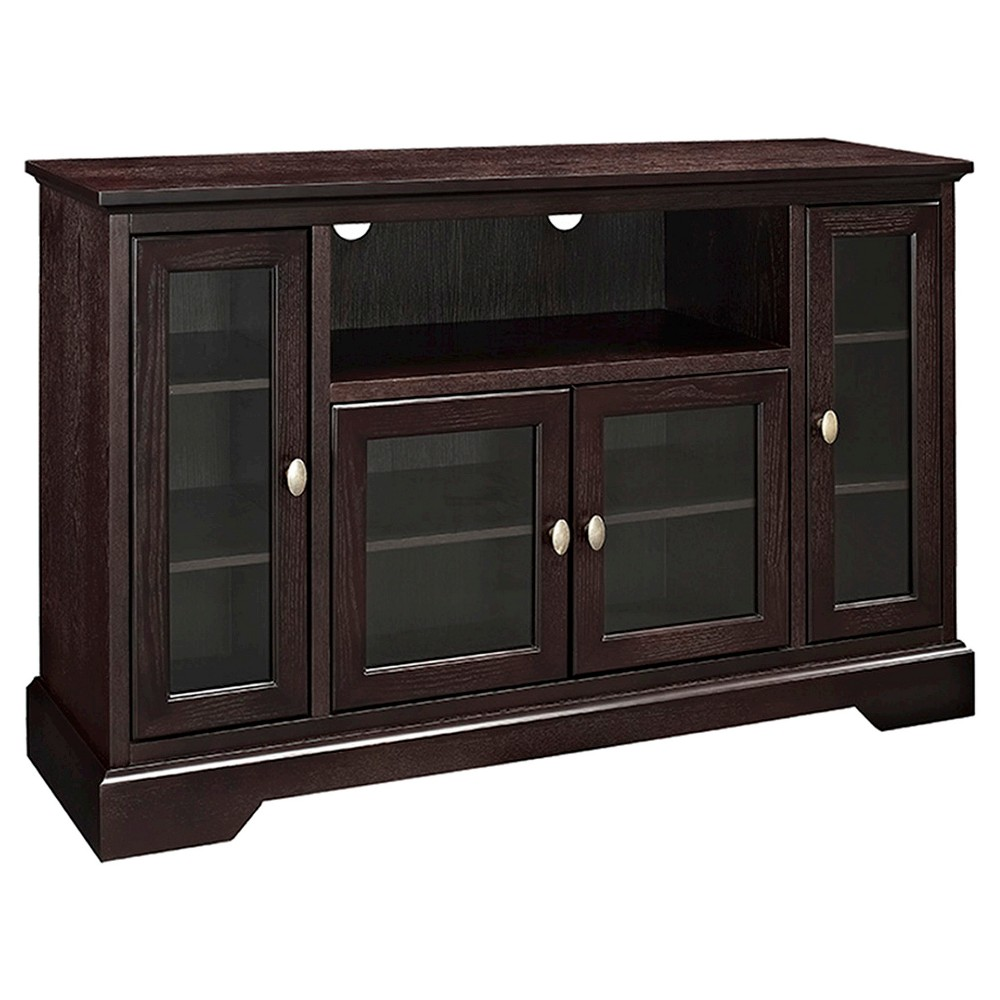 52 Wood Highboy TV Media Stand Storage Console - Espresso (Brown) - Saracina Home