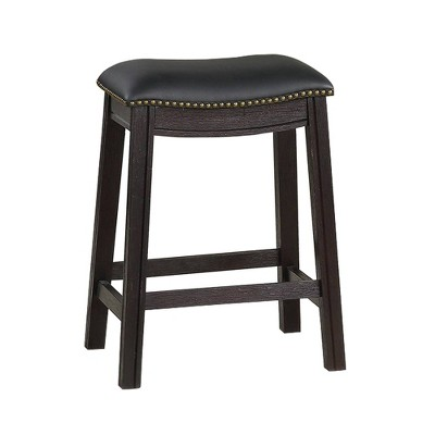Set of 2 Curved Leatherette Counter Height Barstools with Nailhead - Benzara