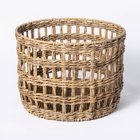 Manmade Outdoor Wicker Basket Beige - Threshold™ designed with Studio McGee - image 1 of 4