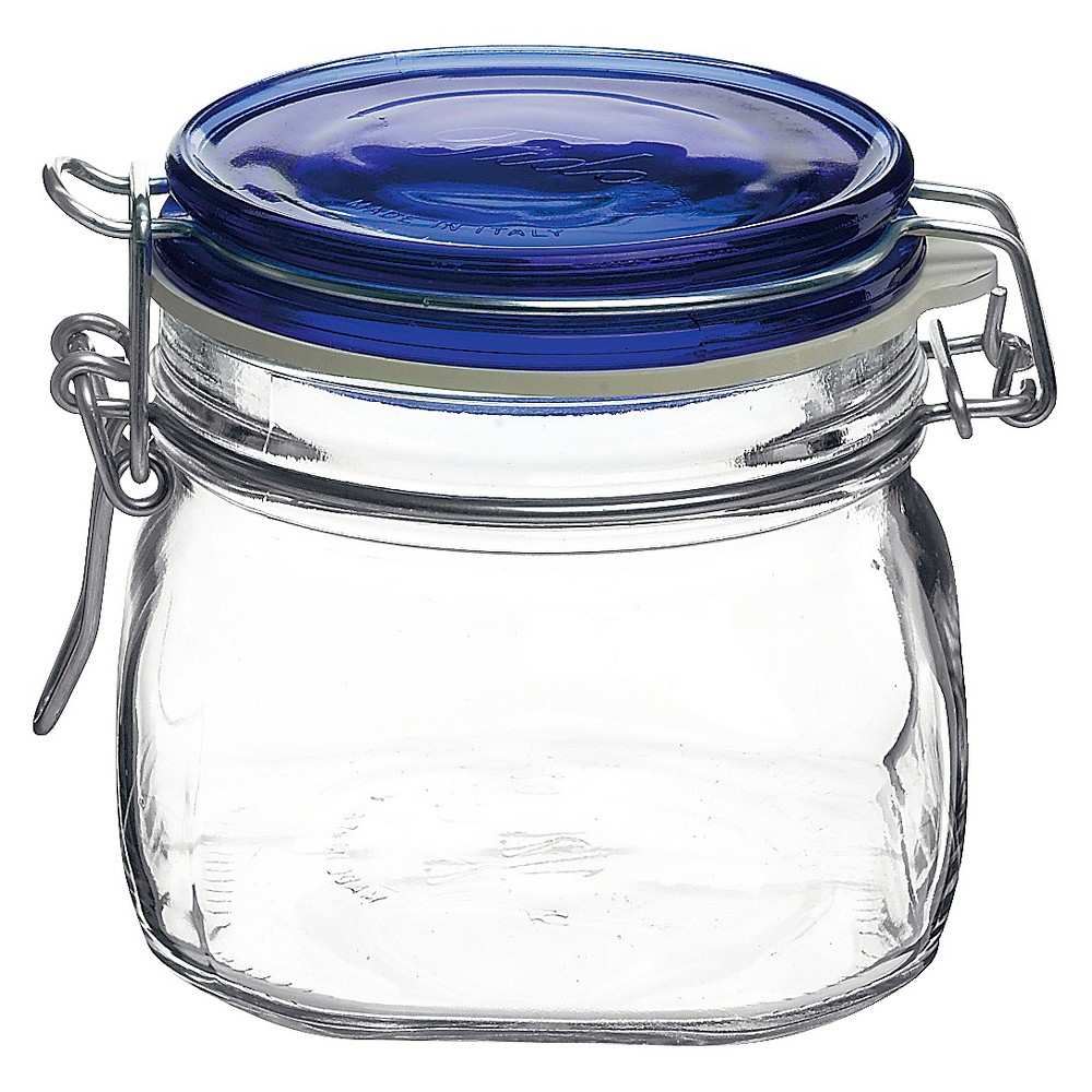 Image of Bormioli Rocco Fido Canning Jar with Blue Lid .5L (Set of 12)