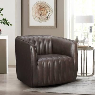 Aries Genuine Leather Swivel Barrel Chair - Armen Living