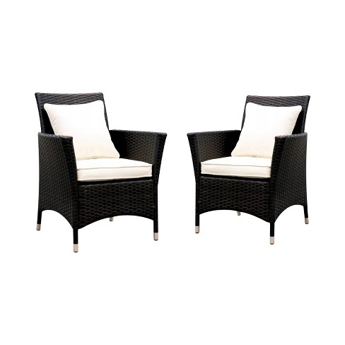 Set of 2 Chadwick All Weather Wicker Patio Arm Chair White - miBasics - image 1 of 3