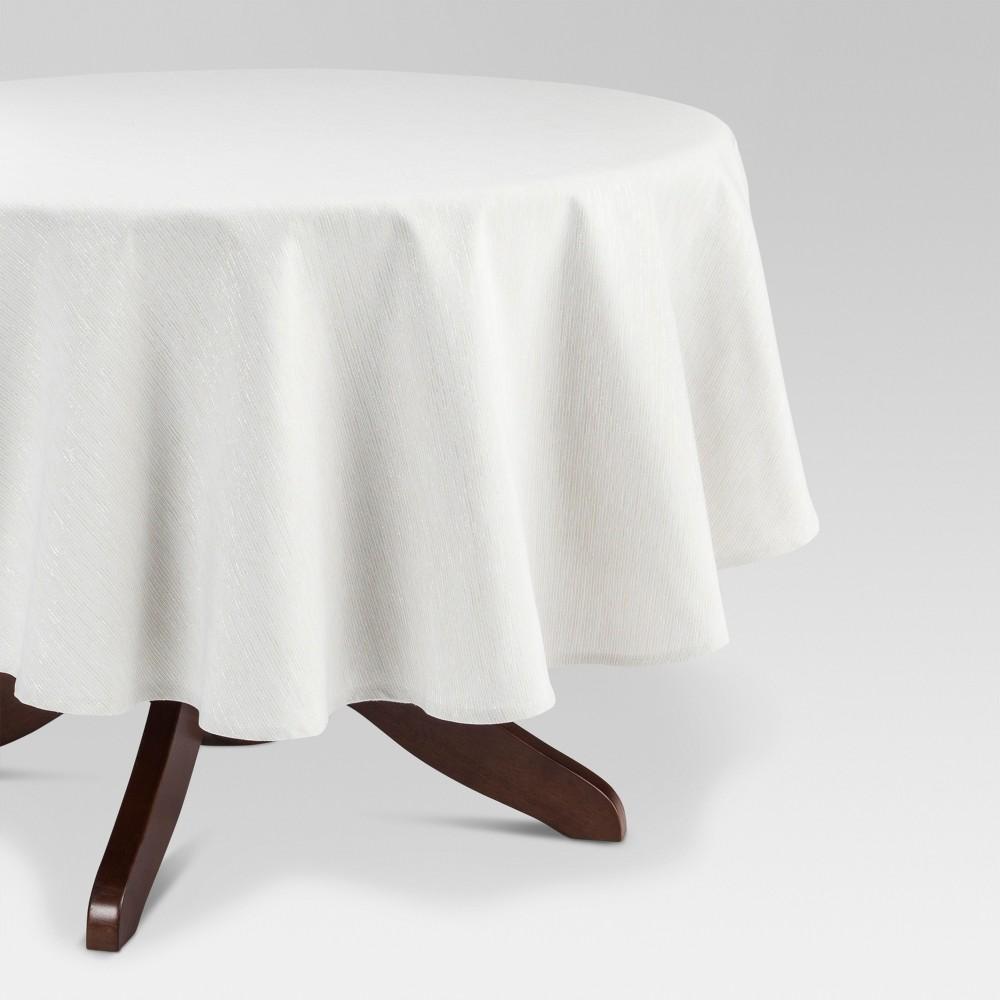 Metallic Stripe Tablecloth 70 - Threshold, White