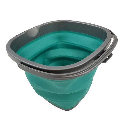 Homz Store N Stow Portable 10 Liter Compact Collapsible Square Bucket with Convenient Carry Handle, Teal