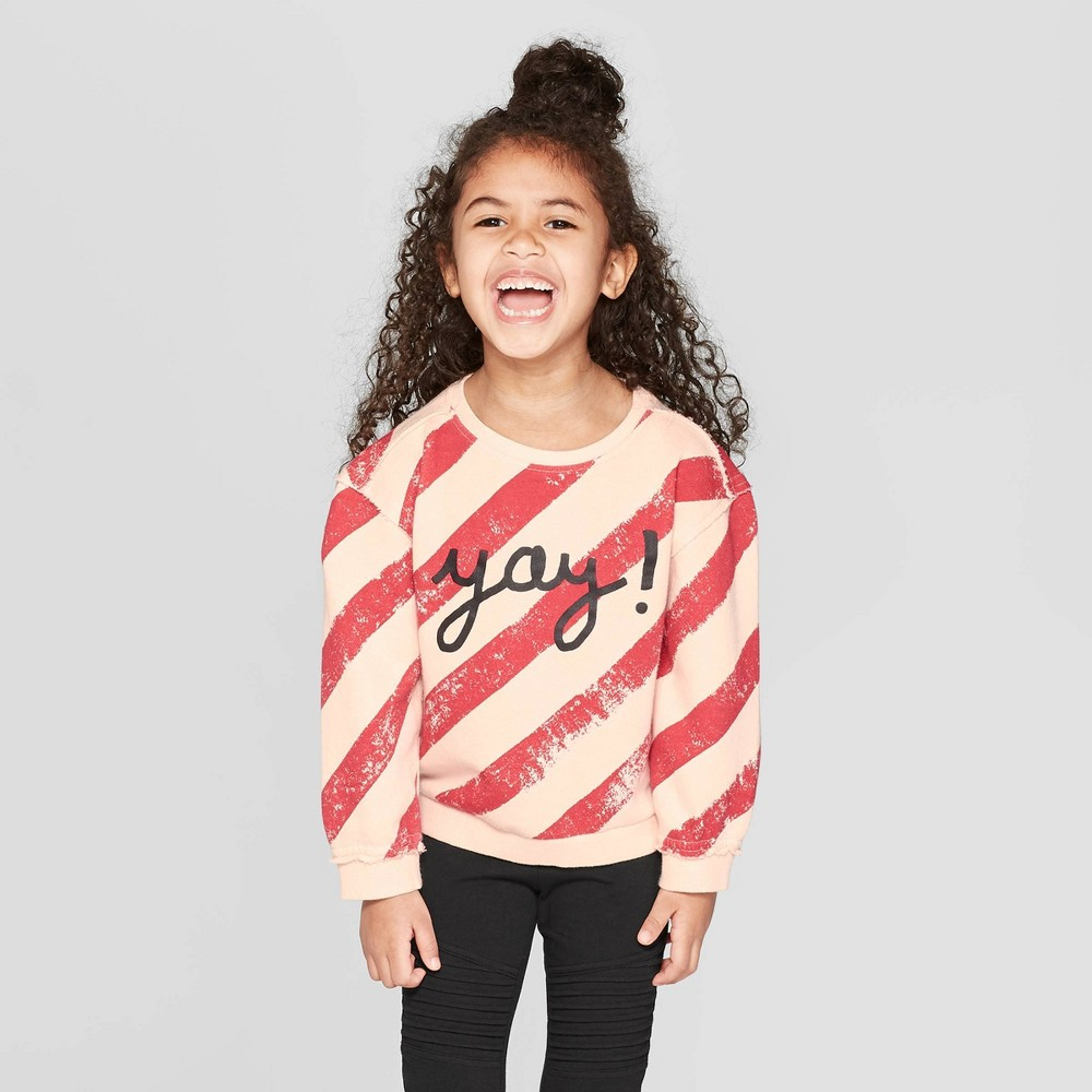 Toddler Girls' 'yay' Striped Pullover Sweatshirt - art class Pink/Red 2T