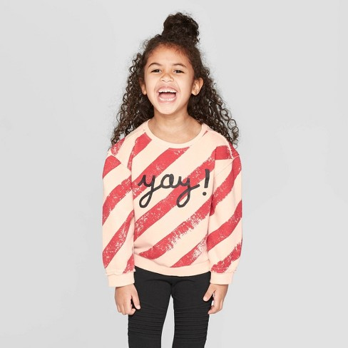Toddler Girls' 'YAY' Striped Pullover Sweatshirt - art class™ Pink/Red 12M - image 1 of 3
