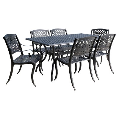 Cayman 7pc Cast Aluminum Patio Dining Set - Black - Christopher Knight Home