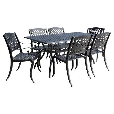 cayman 7pc cast aluminum patio dining set black christopher rh target com