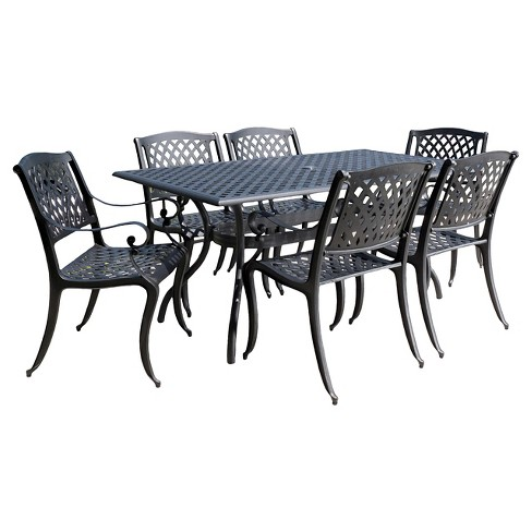 Cayman 7pc Cast Aluminum Patio Dining Set Black Target