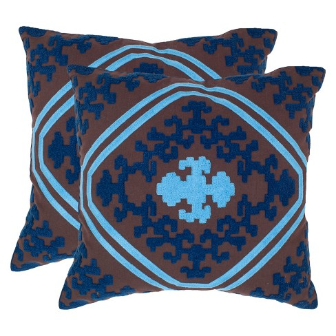 Chocolate/Indigo Pete Throw Pillow Set of 2 - Safavieh® - image 1 of 1
