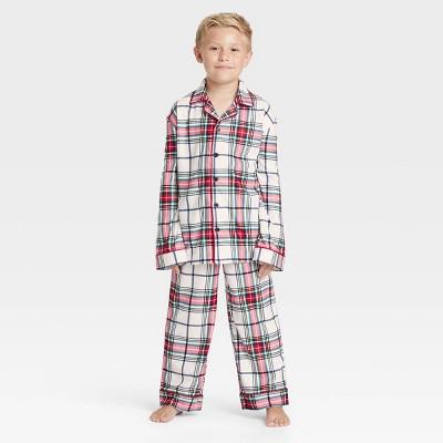 Kids' Holiday Plaid Flannel Matching Family Pajama Set - Wondershop™ White