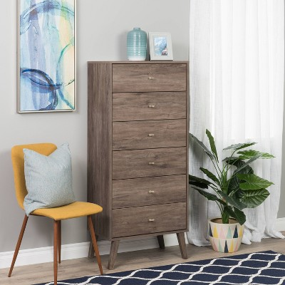 6 Drawer Milo Mid-Century Modern Tall Chest - Prepac