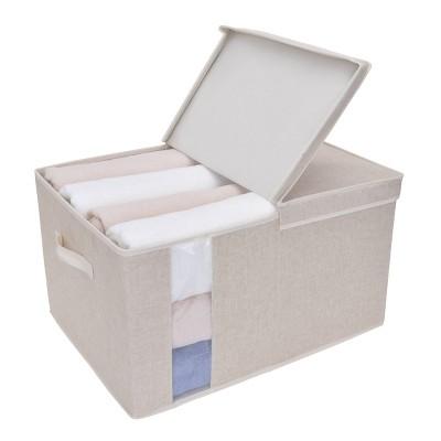 StorageWorks 65L Fabric Storage Bin Lid and Window Sandstone