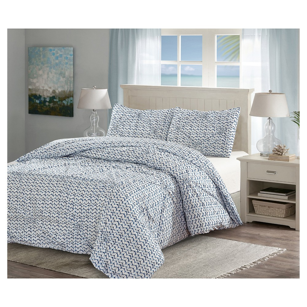 Image of Blue& White Pintuck Batik Duvet Cover Set (King) 3pc - Style Quartersˊ