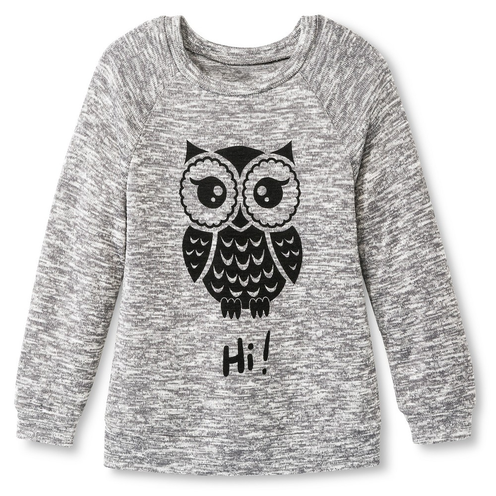 Girls' Miss Chevious Owl Long Sleeve Pullover-Gray XS, Fog