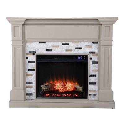 Talsham Touch Panel Fireplace with Marble Surround Gray - Aiden Lane