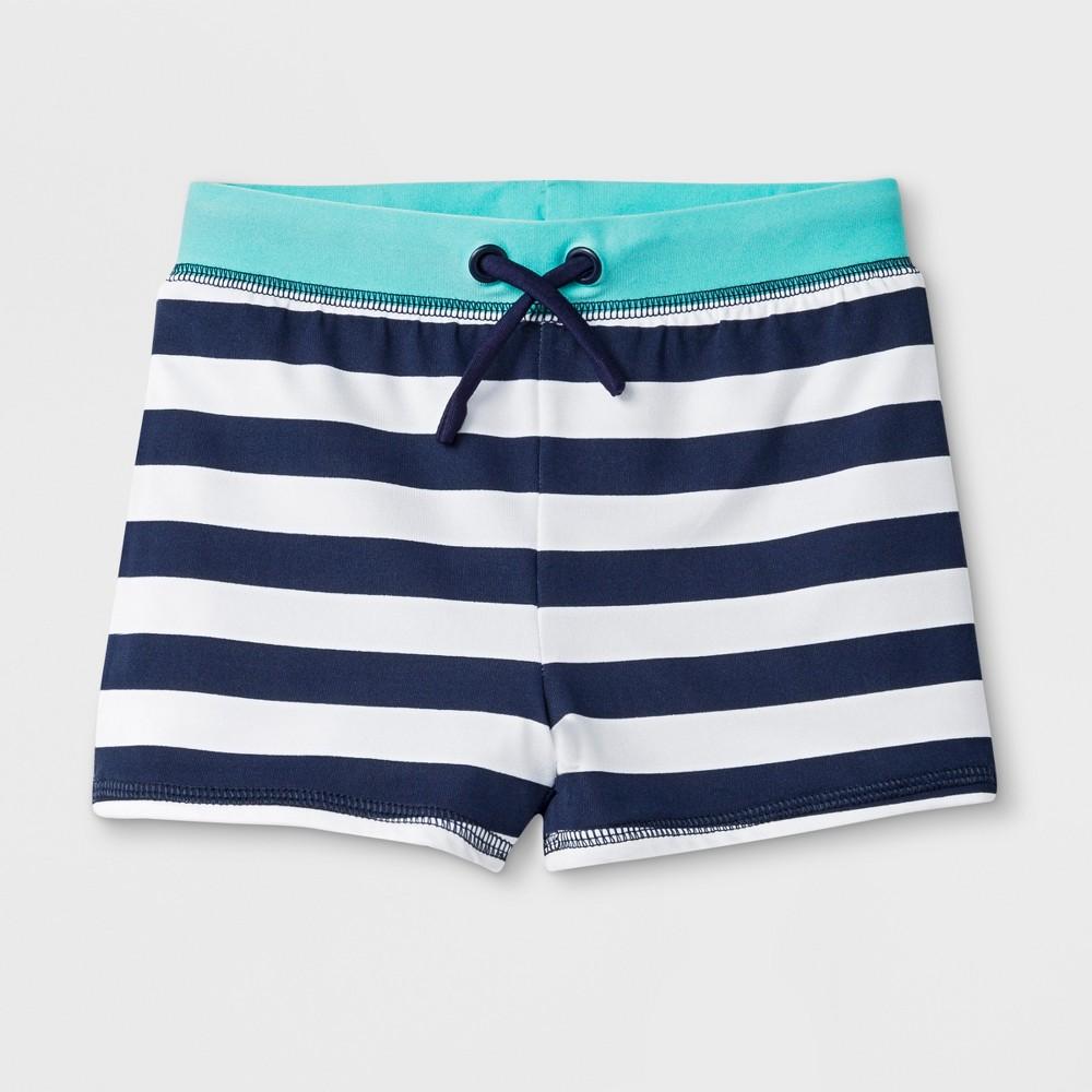 Toddler Boys' Striped Knit Swim Trunks - Cat & Jack Navy 4T, Blue