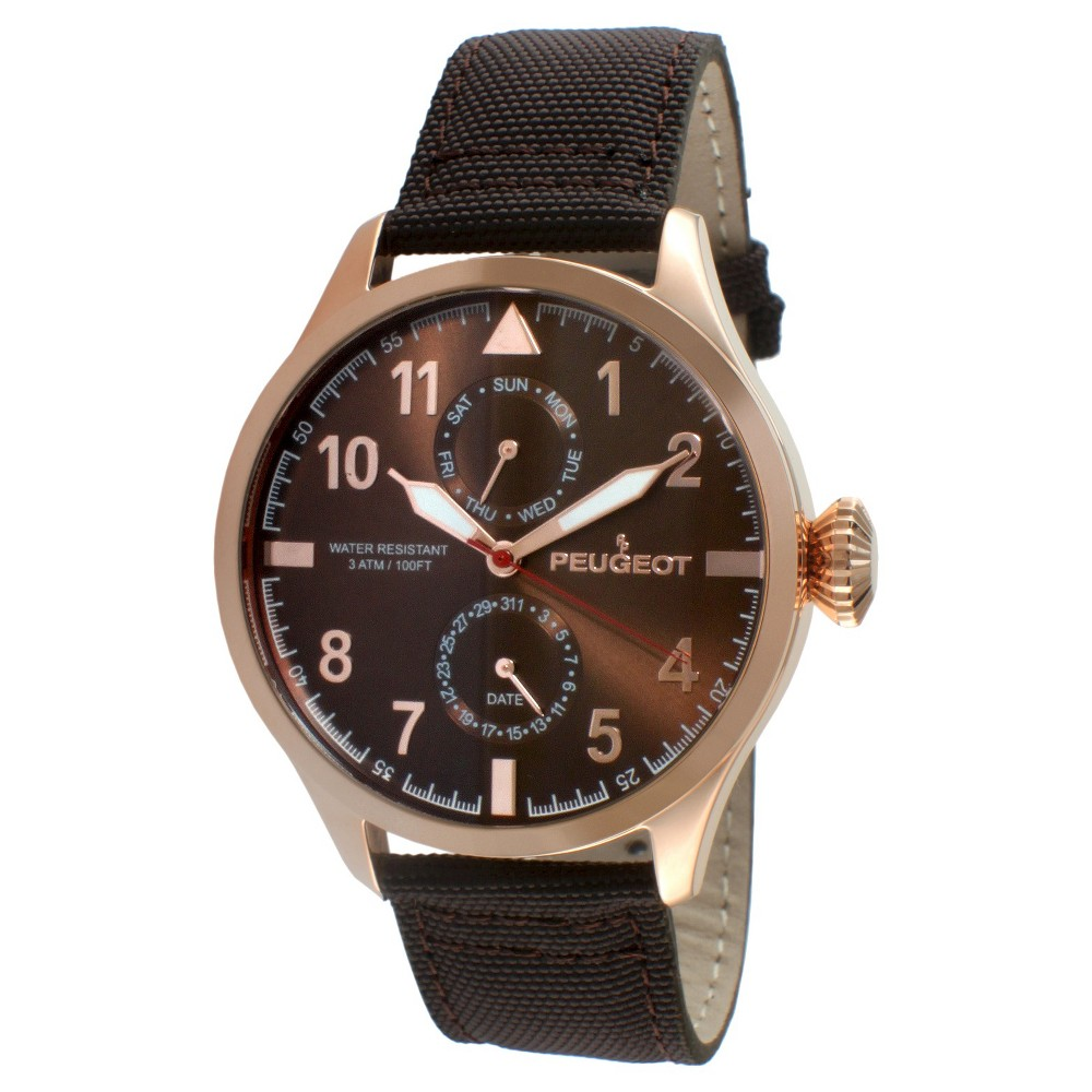 Men's Peugeot Round Multifunction Nylon Strap Watch - Brown, Size: Small