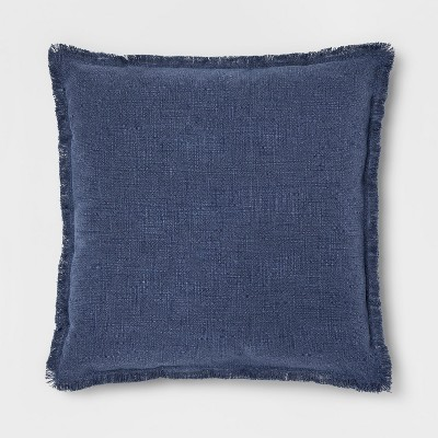 Stonewashed Cotton Canvas Oversize Square Throw Pillow Blue - Threshold™