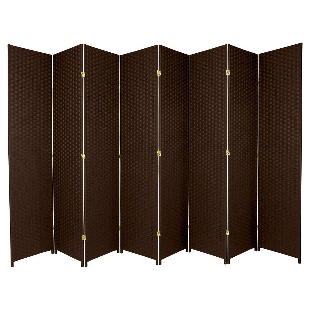 7 ft. Tall Woven Fiber Room Divider - Dark Mocha (8 Panel)