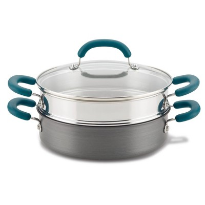 Rachael Ray Create Delicious 3qt Hard Anodized Nonstick Saute Pan with Steamer Teal Handles
