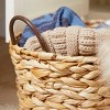 Olivia & May Set of 3 Large Oval Braided Wicker Storage Baskets with Metal Handles Natural - image 2 of 4