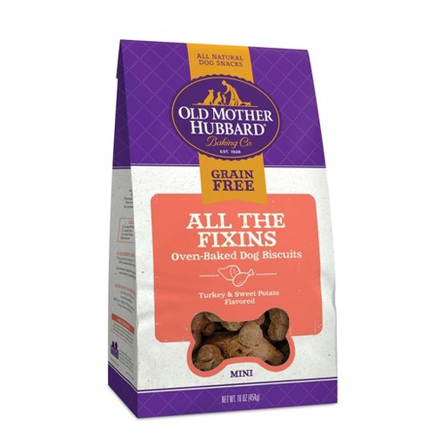 Old Mother Hubbard Grain Free Crunchy All The Fixins' Biscuits Mini oven Oven Baked Dog Treats – 16oz - image 1 of 5