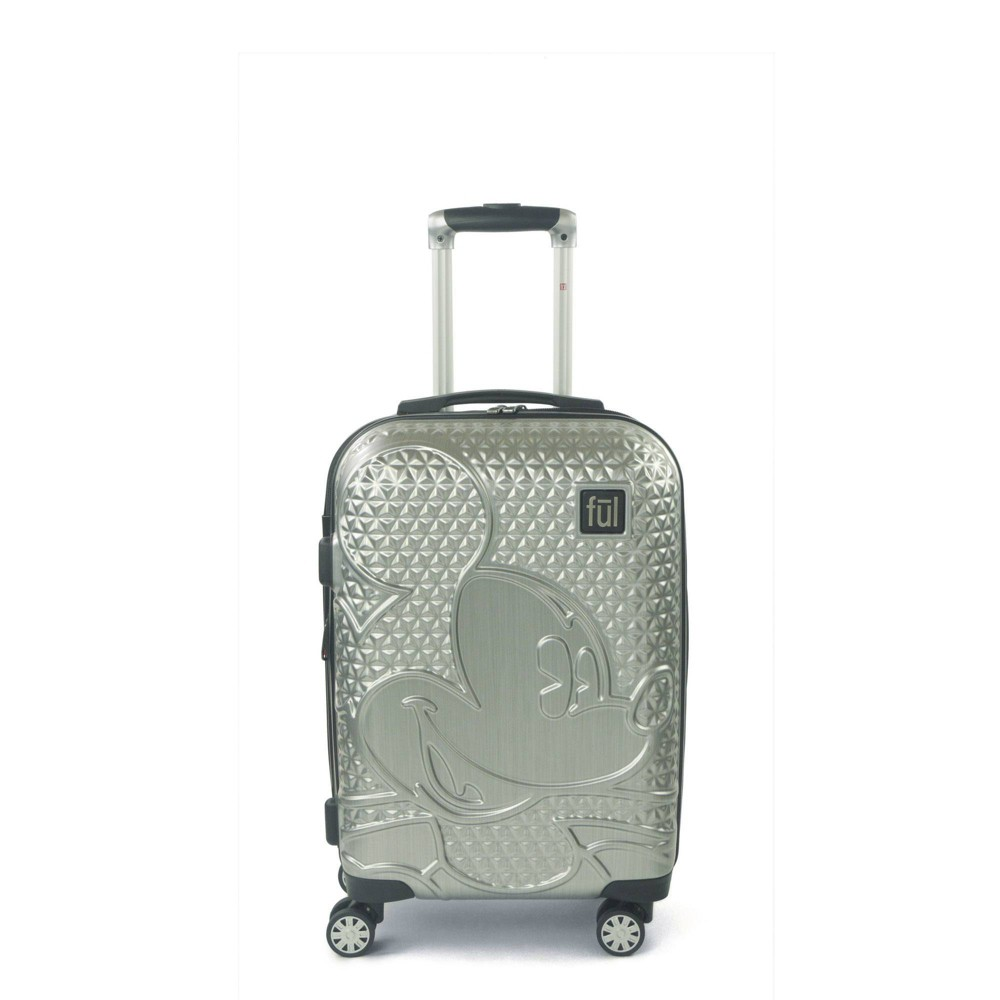 Ful Disney Mickey Mouse Textured 21 34 Carry On Hardside Rolling Suitcase Silver