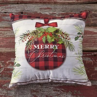 Lakeside Christmas Throw Pillow with Winter Holiday Print, Rustic Lodge Style