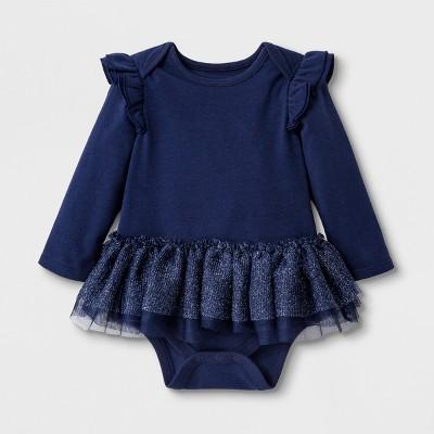Baby Girls' Long Sleeve Tutu Bodysuit - Cat & Jack™ Nightfall Blue 3-6M