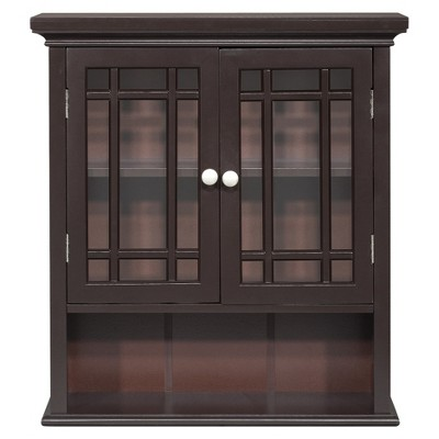 Neal Wall Cabinet with 2 Doors Dark Espresso - Elegant Home Fashions