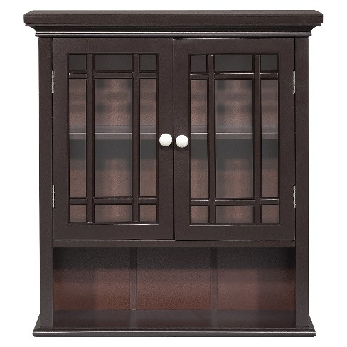 Neal Wall Cabinet with 2 Doors Dark Espresso - Elegant Home Fashions - image 1 of 2