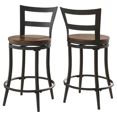 "Set of 2 24"" Saroyan Swivel Metal & Wood Counter Height Barstool Graphite - Inspire Q"